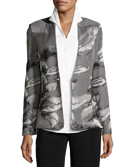 Floral Metallic Jacket, Plus Size