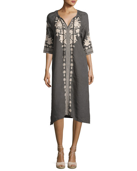Embroidered Linen Tie-Neck Dress Neiman Marcus