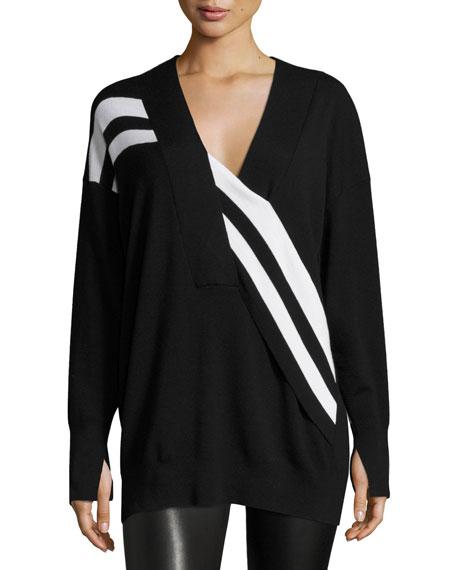 Rag & Bone Grace Striped Merino V-Neck Sweater,