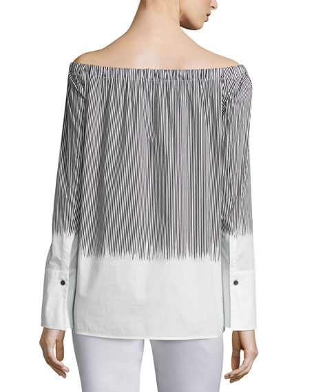 Striped Off-the-Shoulder Blouse, Multi