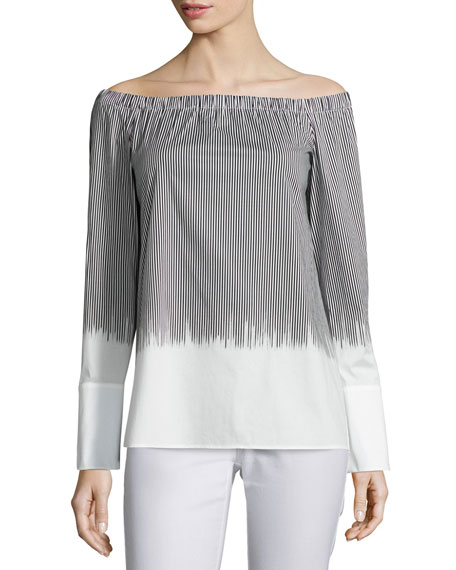 Lafayette 148 New York Striped Off-the-Shoulder Blouse, Multi