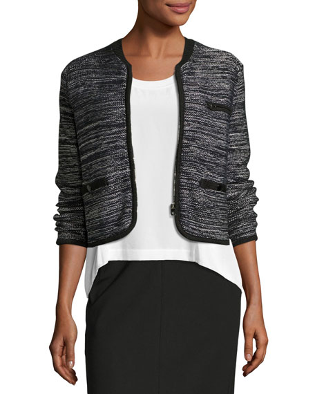 Rosalie Cropped Zip-Front Sweater Jacket, Black/White