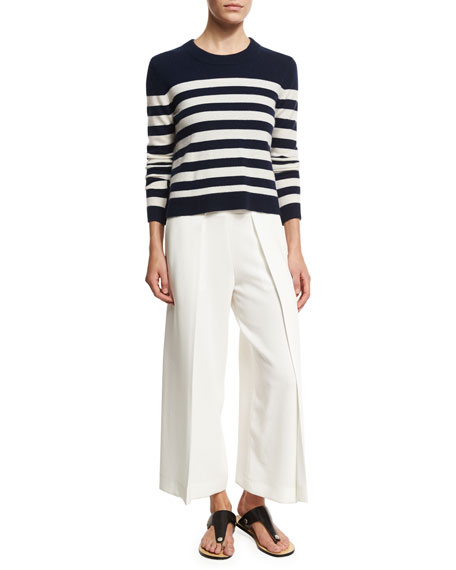 Rowe Wide-Leg Culotte Trousers, White