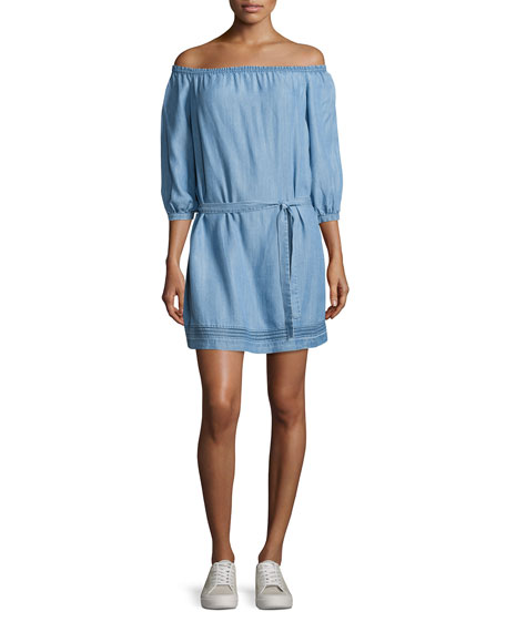 Beatrice Off-the-Shoulder Chambray Dress, Persephone