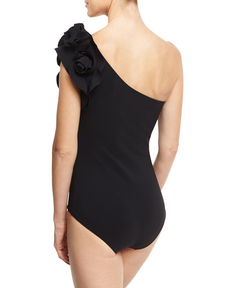 Chrysa One-Shoulder Floral Ruffle One-Piece Swimsuit, Black