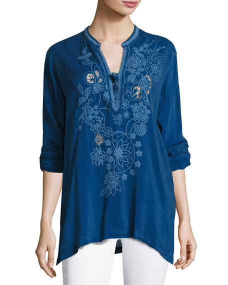 Lusana Embroidered Georgette Top