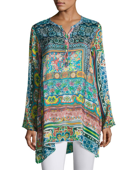 Johnny Was Frame Printed Silk Georgette Tunic, Multi