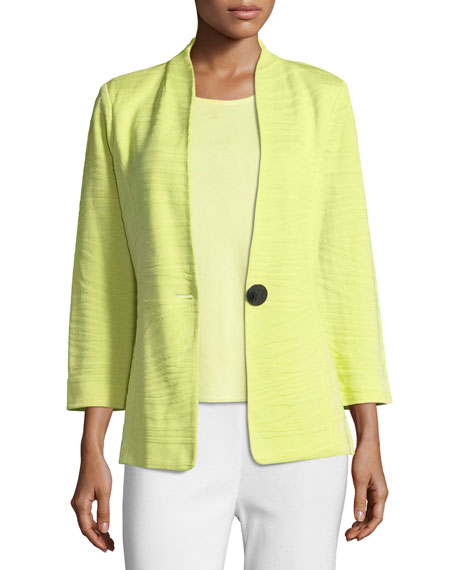 Misook Textured One-Button Jacket, Daiquiri Green, Petite
