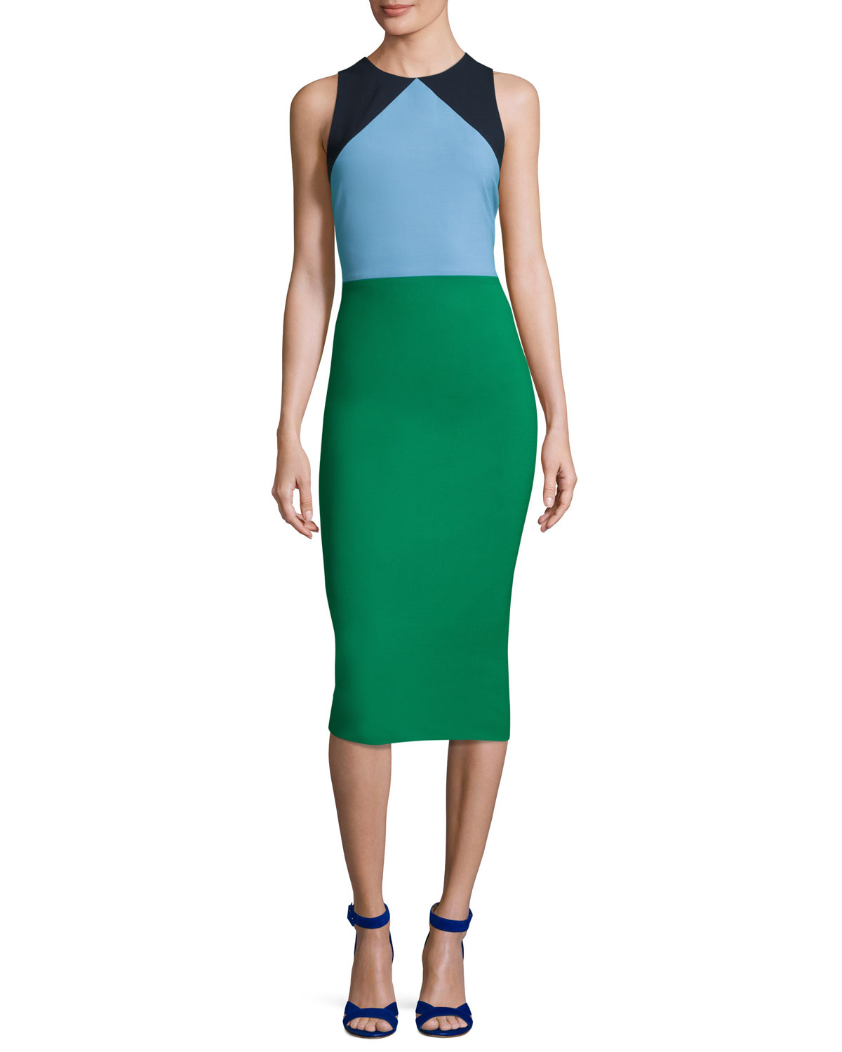 Sleeveless Tailored Colorblock Midi Dress Green Blue Navy