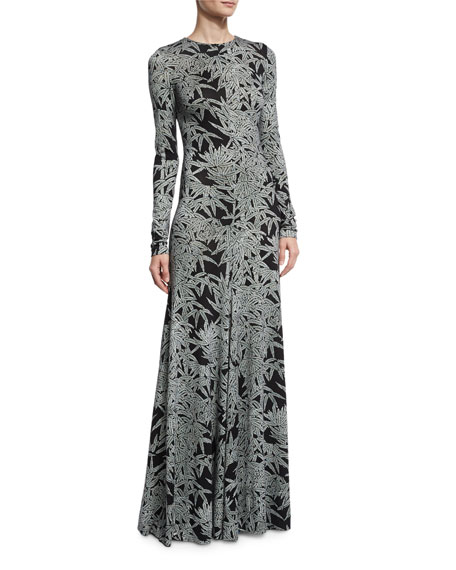 Leaf-Print Silk Long-Sleeve Gown, Black/Gray