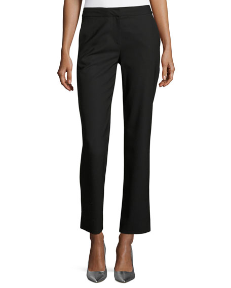 Diane von Furstenberg Stretch-Wool Cigarette Pants, Black