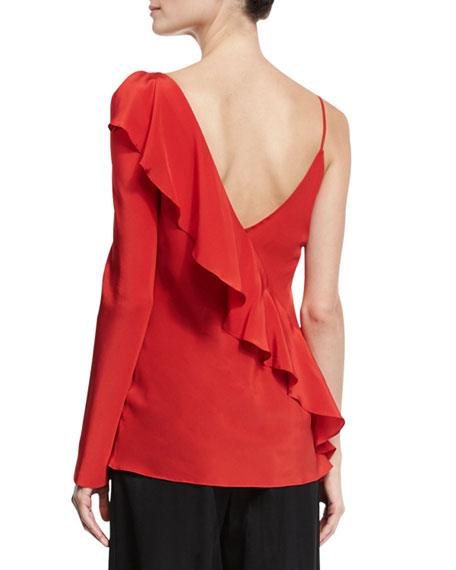 Silk Asymmetric Ruffle Blouse, Red