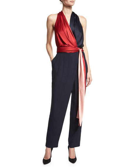 Satin Wrap Jumpsuit, Navy/Red/Pink