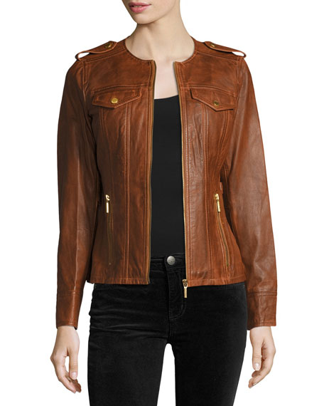 Belted Lambskin Leather Jacket, Cognac
