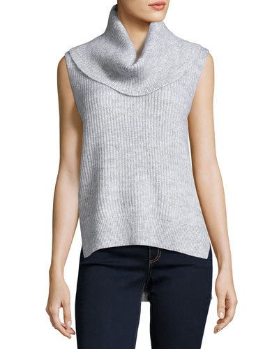 Sleeveless Cowl-Neck High-Low Sweater, Pearl Heather