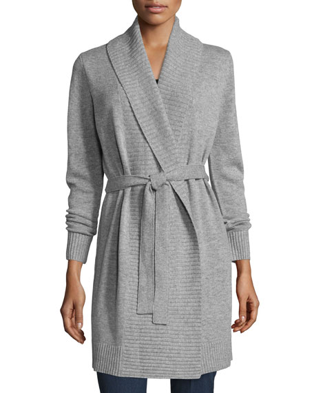 Belted Wool-Blend Shawl Cardigan, Pearl Heather