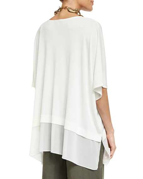 3/4-Sleeve Silk Jersey Easy Top, Plus Size