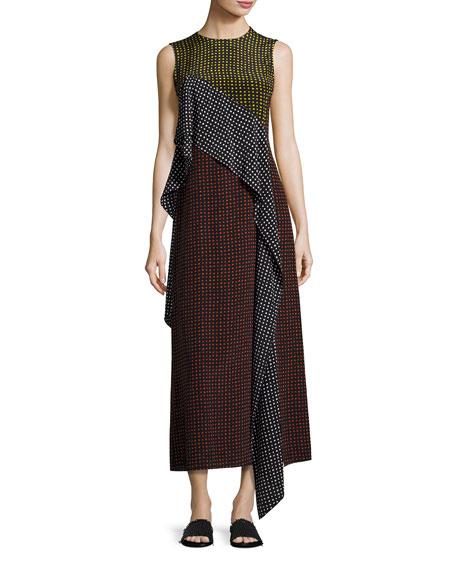 Diane von Furstenberg Sleeveless Dot-Print Silk Ruffle-Trim Maxi