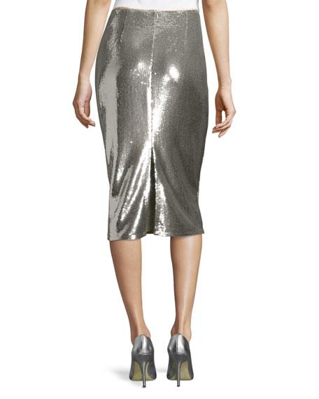 diane furstenberg sequined midi pencil skirt silver