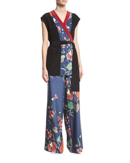 Floral-Print Wide-Leg Silk Toile Pants, Blue Multicolor