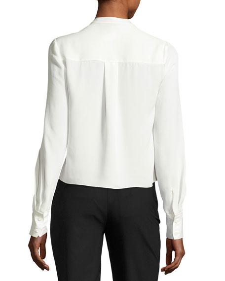 Cropped Silk Jersey V-Neck Shirt, White