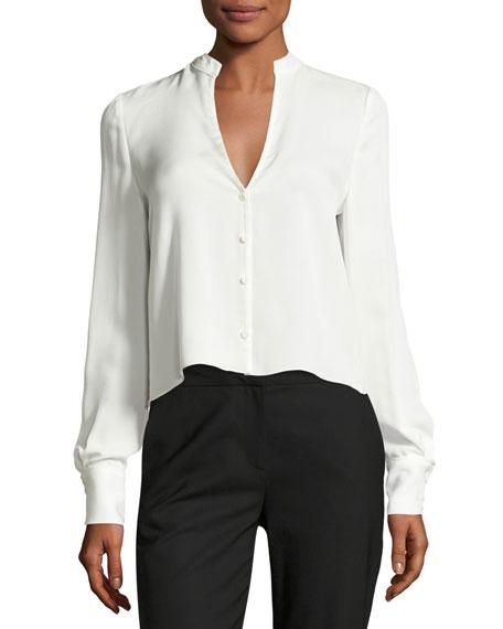 Diane von Furstenberg Cropped Silk Jersey V-Neck Shirt,