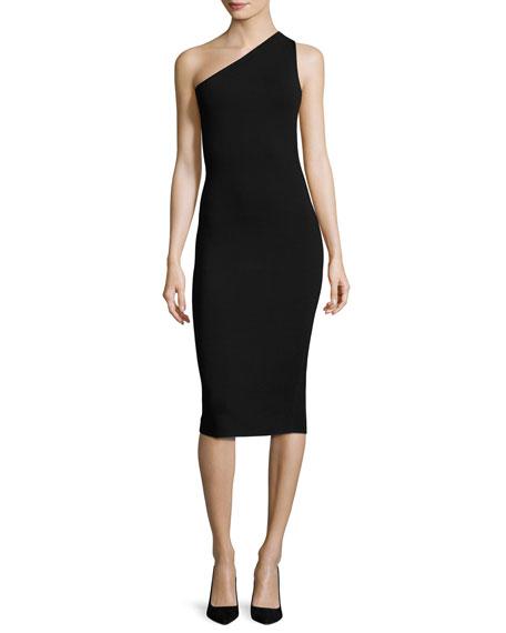 Diane von Furstenberg One-Shoulder Knit Midi Dress, Black