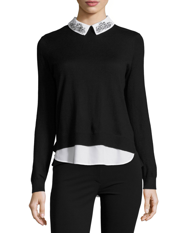 0b129b1db3281 Ted Baker London Miriah Embellished-Collar Shirt-Detail Jumper ...