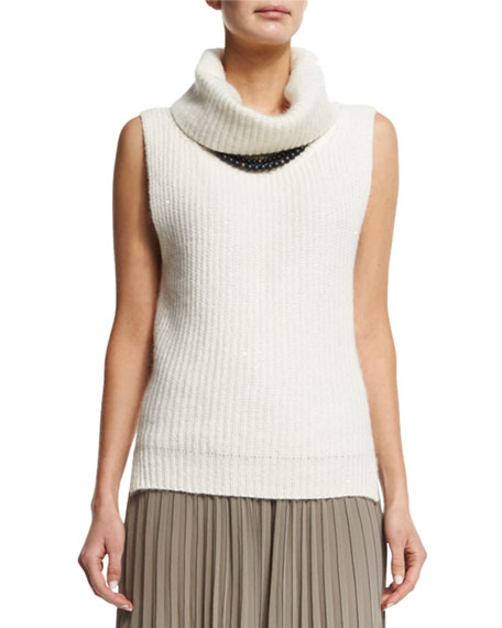Sleeveless Sparkled Turtleneck Sweater