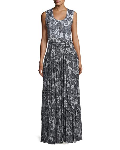 Diane von Furstenberg Floral-Print Cotton-Silk Sleeveless Maxi