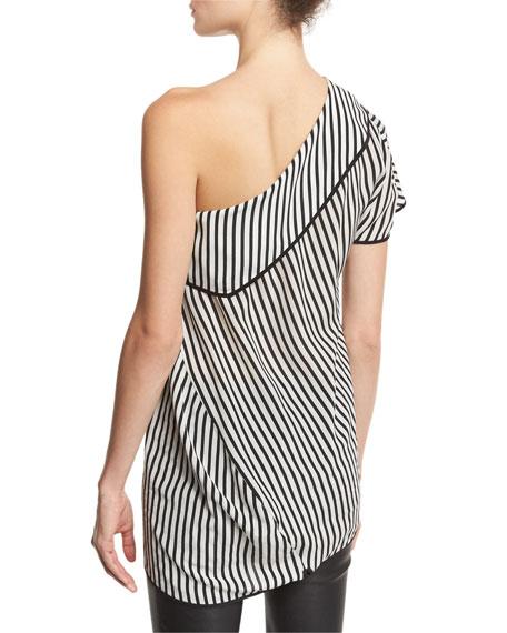 One-Shoulder Striped Side-Slit Silk Top, Black/White