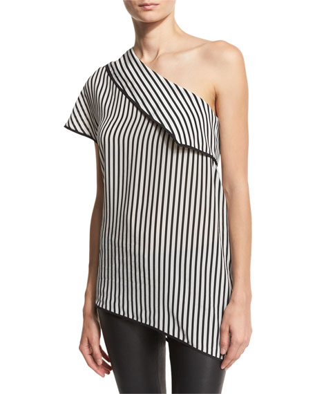 Diane von Furstenberg One-Shoulder Striped Side-Slit Silk Top,