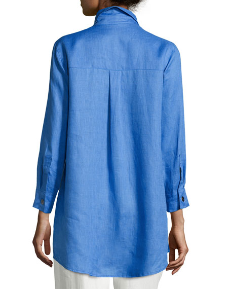 Tissue Linen Boyfriend Shirt, Plus Size