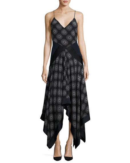 Diane von Furstenberg Scarf-Hem Silk Midi Dress, Blue