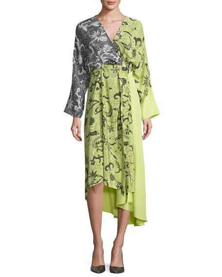 Diane von Furstenberg Colorblock Floral-Print Silk Kimono Dress,