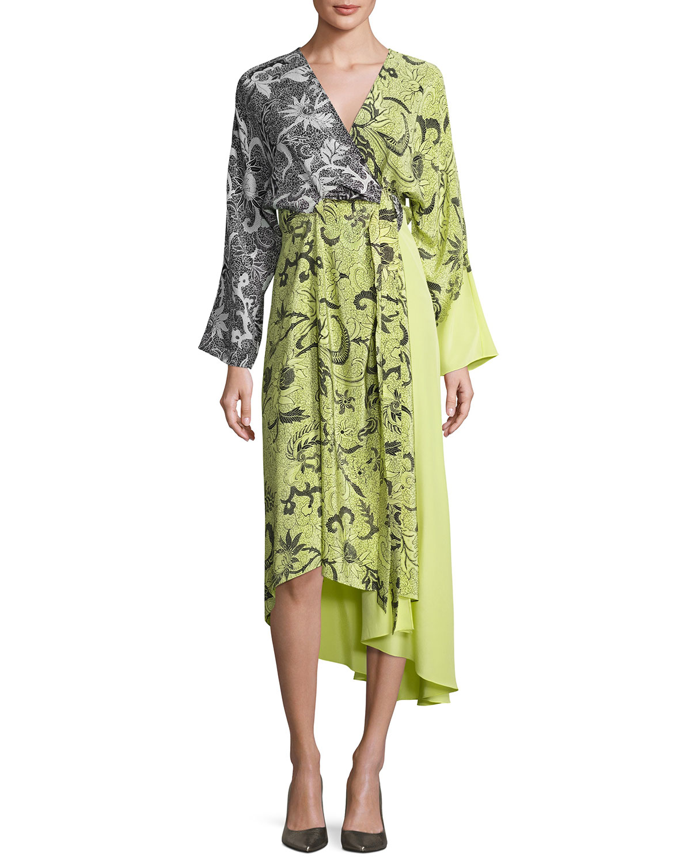 73e2afda47e Diane von Furstenberg Colorblock Floral-Print Silk Kimono Dress ...