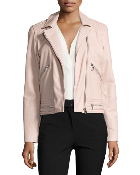 Washed Leather Motorcycle Jacket, Pink