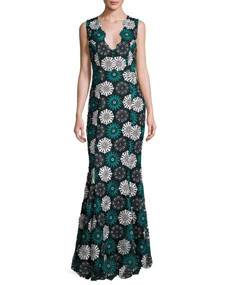 April Sleeveless Medallion Lace Gown, Blue/Black