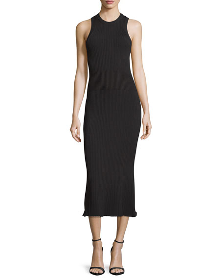 GREY Jason Wu Ribbed Crewneck Midi Dress, Black
