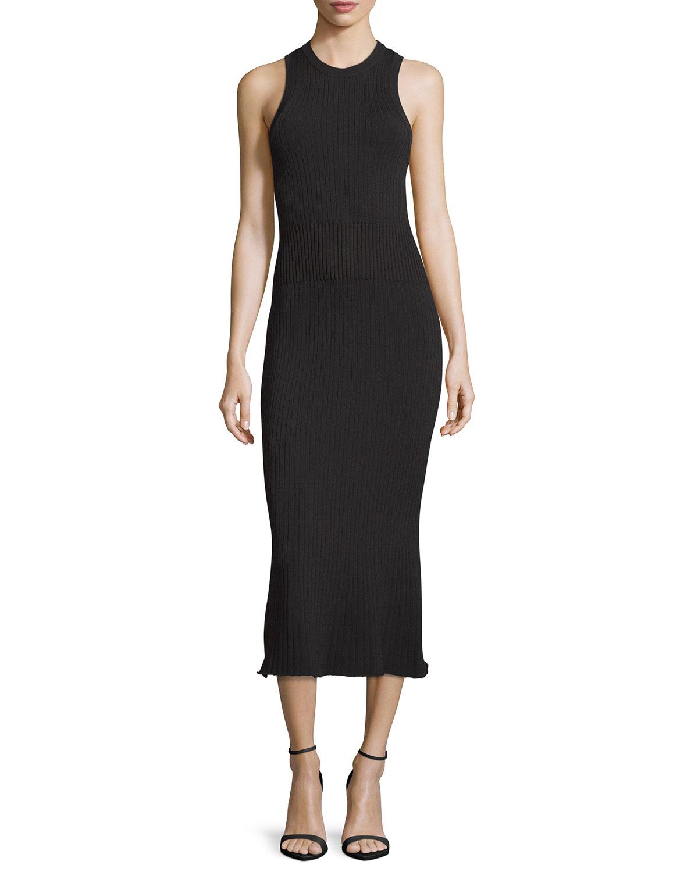 GREY Jason Wu Ribbed Crewneck Midi Dress, Black
