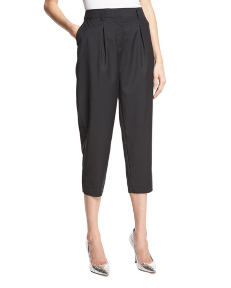 Robert Rodriguez Easy Pleat-Front High-Waist Cropped Pants, Black
