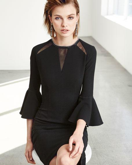 Garcia Bell-Sleeve Sheath Dress w/ Mesh Inserts, Black