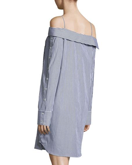 Cold-Shoulder Striped Poplin Dress