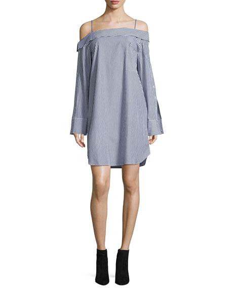 Robert Rodriguez Cold-Shoulder Striped Poplin Dress