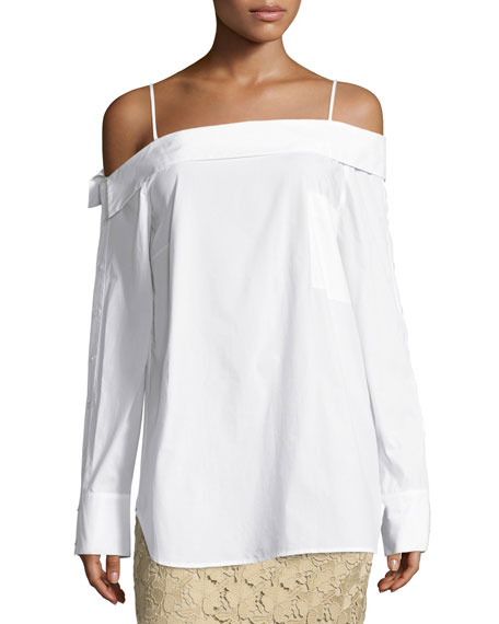 Robert Rodriguez Off-the-Shoulder Poplin Top, White