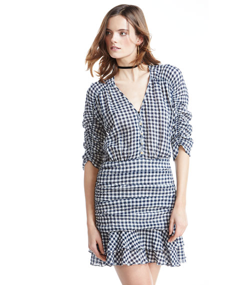 Campbell Ruched Gingham Flounce Dress, Navy