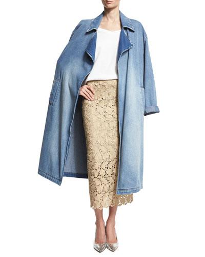 Oversized Denim Trench Coat, Blue