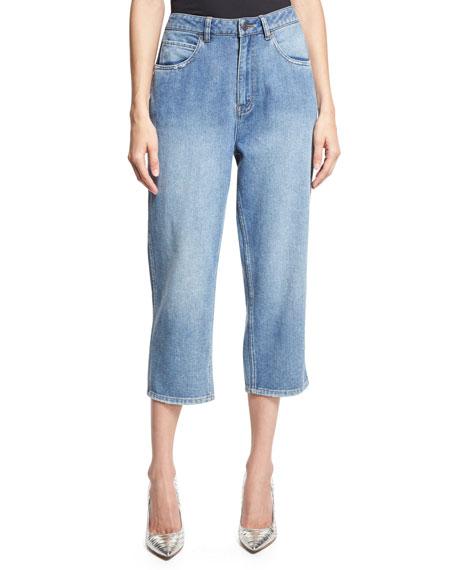 Robert Rodriguez High-Rise Cropped Boyfriend Jeans, Blue