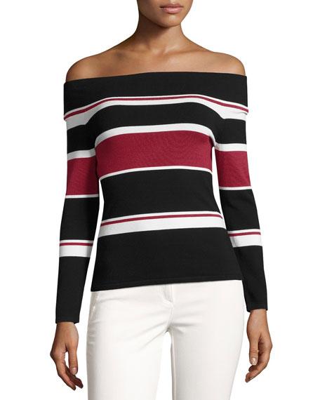 Audrey Striped Sweater, Black