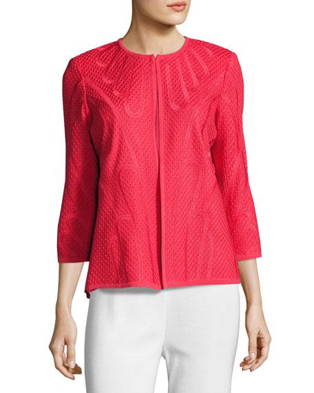 Misook Plus Size Textured 3/4-Sleeve Jacket, Sorbet